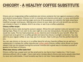 Chicory - A Healthy Coffee Substitute
