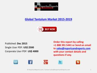 Tantalum Market 2019 Key Vendors Research and Analysis