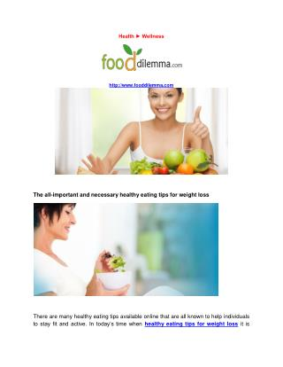 healthy food information Tips best diet for weight loss women