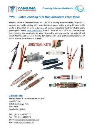YPIL � Cable Jointing Kits Manufacturers From India