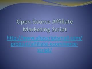 Open Source Affiliate Marketing Script