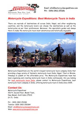 Motorcycle Expeditions - Best Motorcycle Tours India