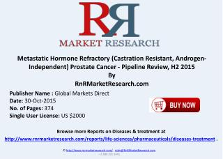 Metastatic Hormone Refractory Prostate Cancer Pipeline Review H2 2015