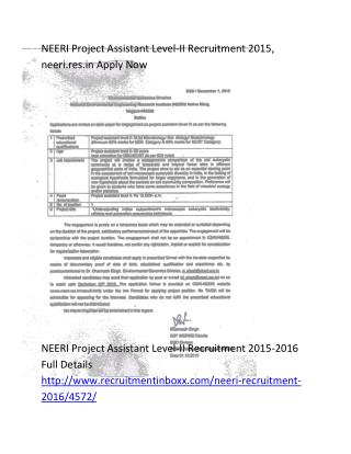 NEERI Project Assistant Level-II Recruitment 2015, Neeri.res.in Apply Now