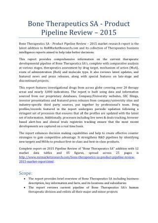Bone Therapeutics SA Product Pipeline Review 2015