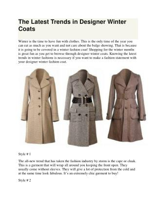 The Latest Trends in Designer Winter Coats