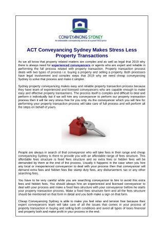 ACT Conveyancing Sydney Makes Stress Less Property Transactions