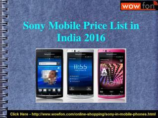 Latest Sony Mobile Price India