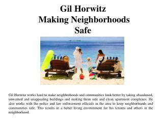 Gil Horwitz - Making Neighborhoods Safe