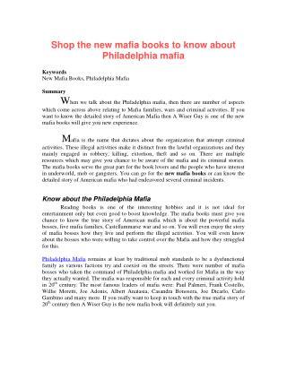 Shop the new mafia books to know about Philadelphia mafia