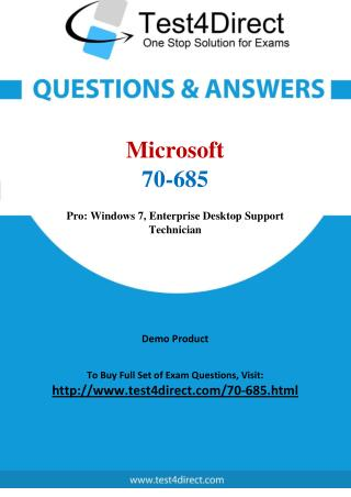 Microsoft 70-685 MCITP Real Exam Questions