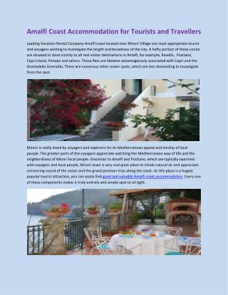 Amalfi Coast Accommodation for Tourists and Travellers