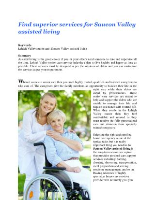 Find superior services for Saucon Valley assisted living