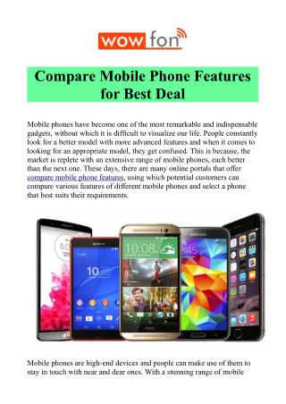 Compare Mobile Phone at Wowfon.com