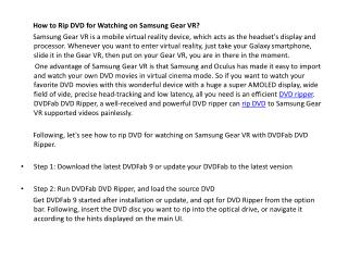How to Rip DVD for Watching on Samsung Gear VR