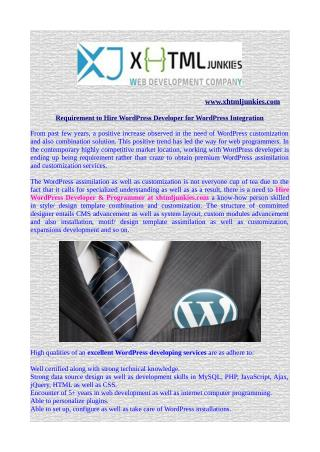 Requirement to Hire WordPress Developer for WordPress Integration