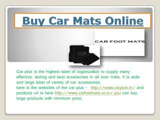 Buy Car Mats Online
