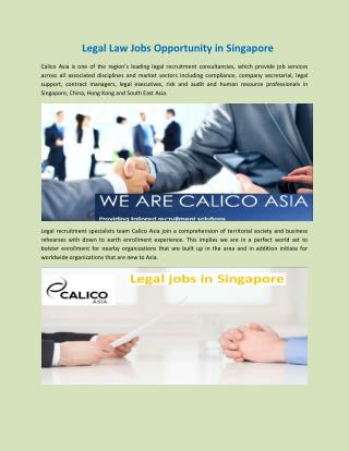 Legal Law Jobs Opportunity in Singapore