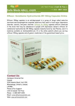 Buy Effexor- Venlafaxine XR 150mg Capsules Online