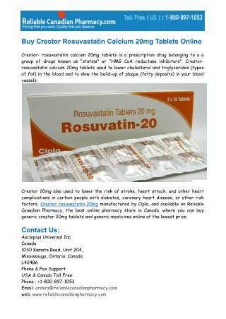 Buy Crestor Rosuvastatin Calcium 20mg Tablets Online