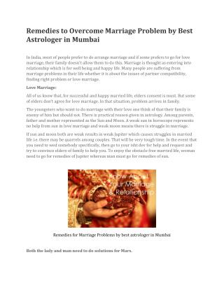 Remedies to Overcome Marriage Problem by Best Astrologer in Mumbai