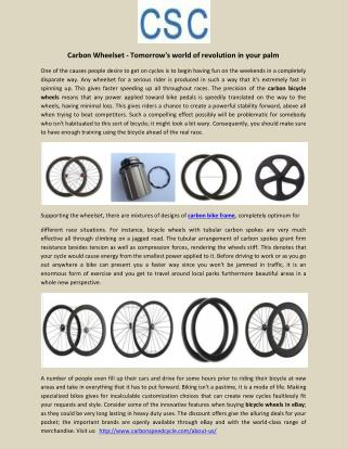 Carbon Wheelset - Tomorrow's world of revolution in your palm