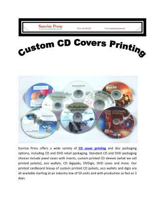 Custom CD Covers Printing at Sunrise Press