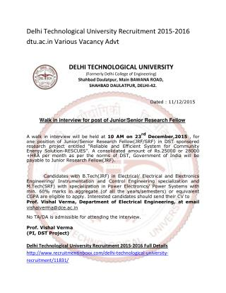 Delhi Technological University Recruitment 2015-2016 Dtu.ac.in Various Vacancy Advt