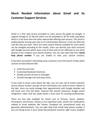 Need Information about Gmail and Its Customer Support Services