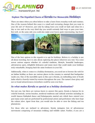 Explore The Dignified Charm of Kerala For Memorable Holidays