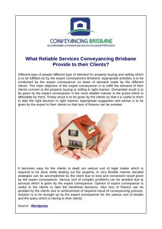 What Reliable Services Conveyancing Brisbane Provide to their Clients?