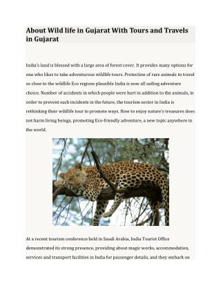 About Wild life in Gujarat With Tours and Travels in Gujarat