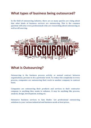 What types of business being outsourced