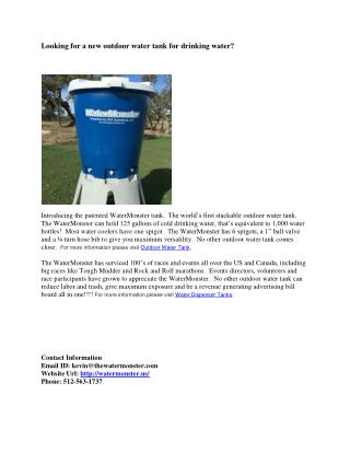 Looking for a new outdoor water tank for drinking water?