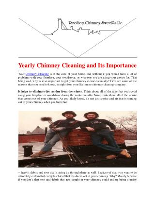 Yearly Chimney Cleaning and Its Importance