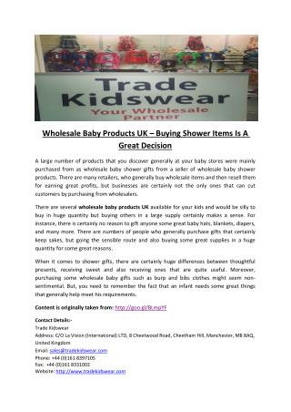 Wholesale Baby Products UK – Buying Shower Items Is A Great Decision