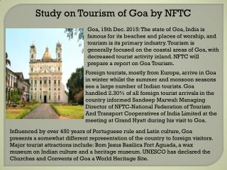 Study on Tourism of Goa by NFTC