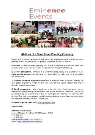 Abilities of a Good Event Planning Company