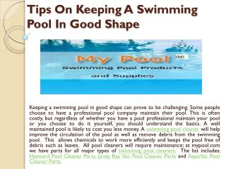 Tips on keeping a swimming pool in good shape