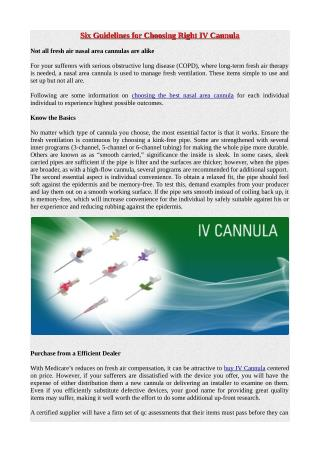 Six Guidelines for Choosing Right IV Cannula