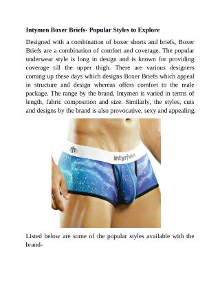 Intymen Boxer Briefs- Popular Styles To Explore