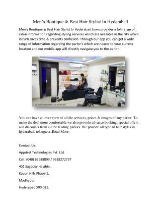 Mens boutique best hair stylist in hyderabad