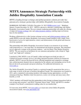 MTFX Announces Strategic Partnership with Jubilee Hospitality Association Canada
