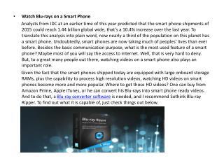 Watch Blu-rays on a Smart Phone