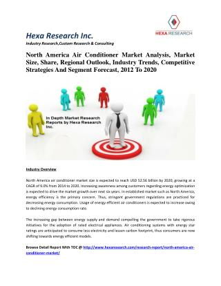 North America Air Conditioner Market Analysis, Industry Trends And Segment Forecast, 2012 To 2020