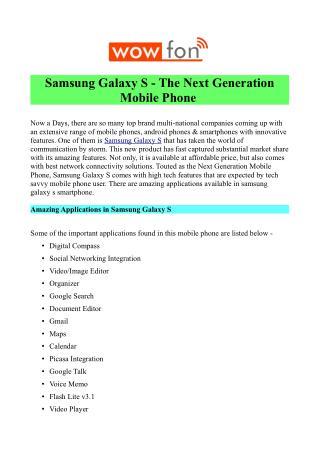 Buy Samsung Galaxy S at Rs 6,499/-