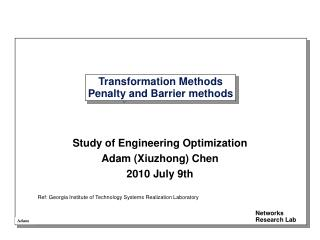 Transformation Methods Penalty and Barrier methods