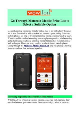 Motorola Price List in India