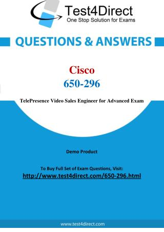 Cisco 650-296 TelePresence Video Exam Questions
