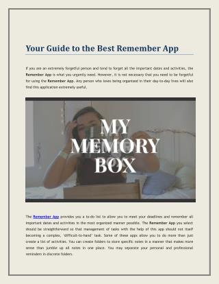 Remember App